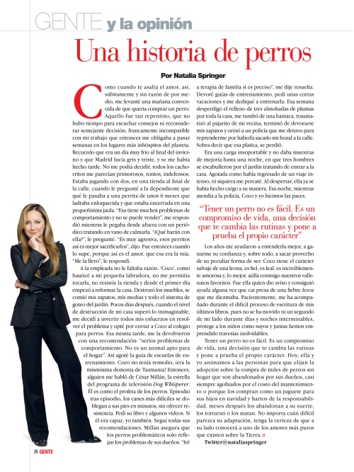 Natalia Springer. / Revista GENTE Colombia.